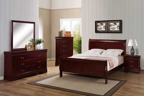 Louis Philippe Queen Cherry Bedroom Set