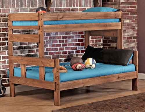 Rustic Stackable Twin Over Full Bunk Bed