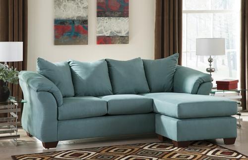 Ashley Darcy Sofa U0026 Reclining Chaise (Sky)