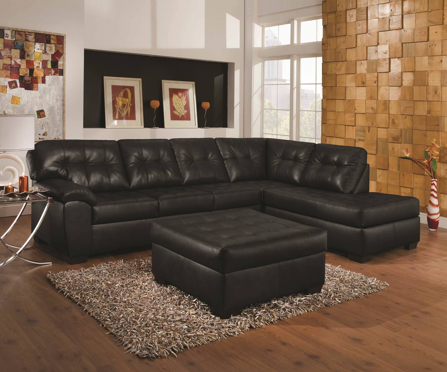 Fantastic Simmons Soho Sectional With Ottoman Onyx Caraccident5 Cool Chair Designs And Ideas Caraccident5Info