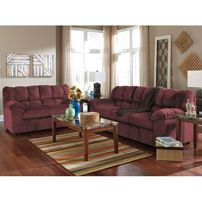 Ashley Julson Sofa & Loveseat (Burgundy)
